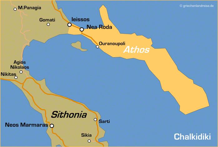 Landkarte von Athos