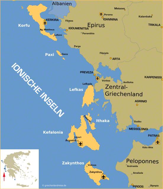 Landkarte der ionischen Inseln in Griechenland