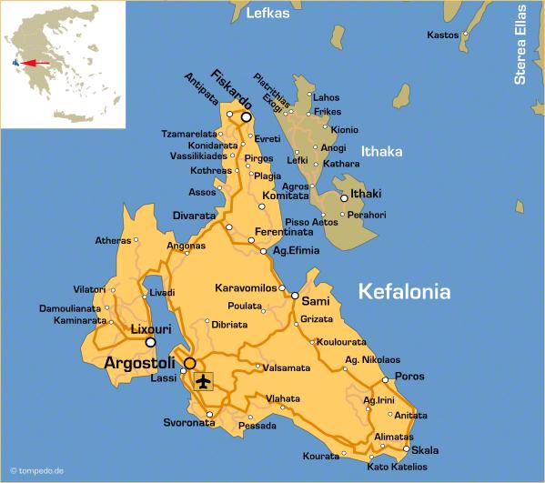 Landkarte von Kefalonia