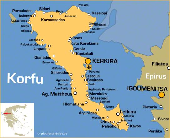 Überblick über die ionische Insel Korfu