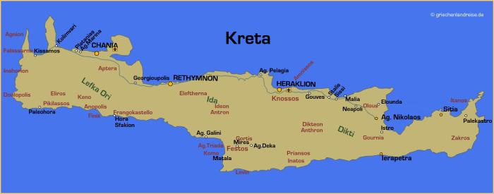 Landkarte von Kreta