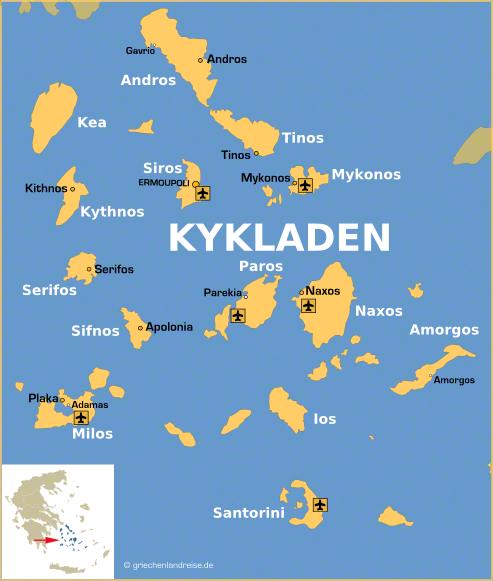 Landkarte der Kykladen