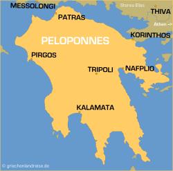 Karte Griechenland Peloponnes.Peloponnes Griechenlandreise De