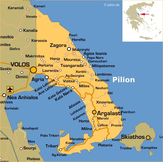 pilion karte Der Pilion (Magnesia, Griechenland)