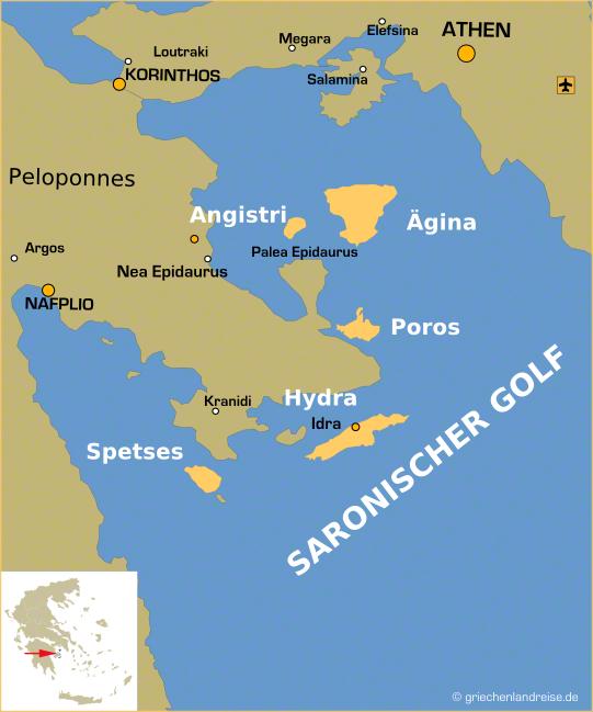 Landkarte der Inseln des saronischen Golfes