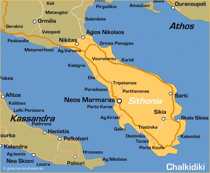 Landkarte von Sithonia