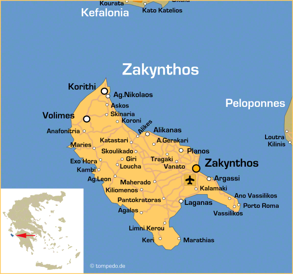 Landkarte von Zakynthos