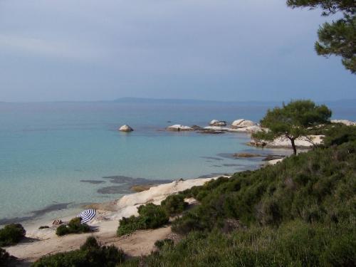 Strand mit in Sandstein geschnitzten Figures außerhalb von Sarti, einem Ort der Nordküste von Sithonia.