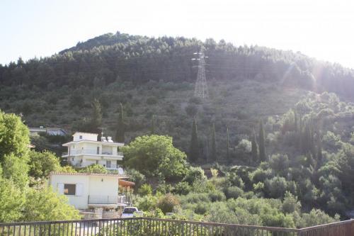 Blick vom Balkon nach hinten in die Berge