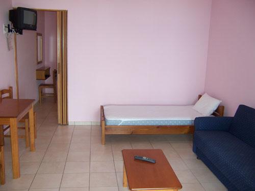 Das Wohn-Schlafzimmer eines Apartments