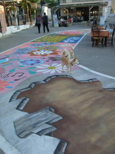 Straßenmalerei.