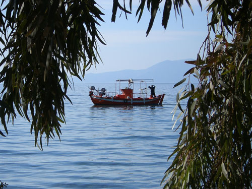 Hier gibt es tatsächlich noch Fischer. Einer von ihnen beim morgendlichen Einholen seiner Netze.