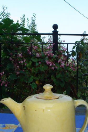 Auf der eigenen Terrasse des Hauses kann man gemütlich einen Tee trinken