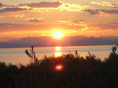 Sonnenuntergang an der Westküste des Pilion.
